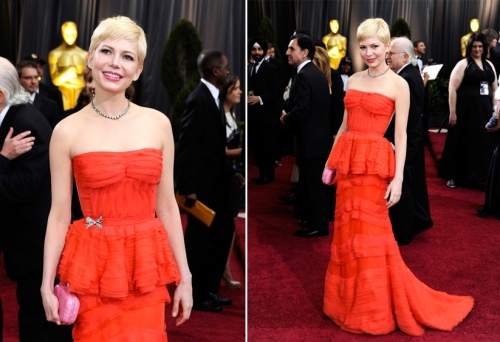 Michelle Williams vintage brooch dress 84th Annual Academy Awards