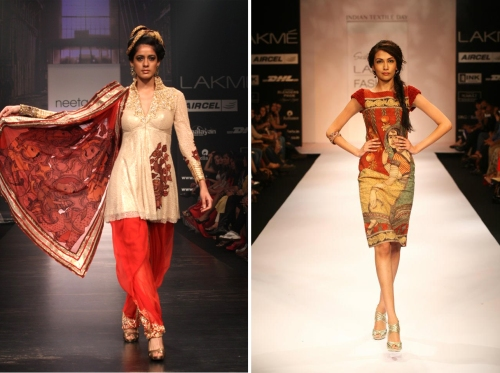 Gorgeous kalamkari work sarees from runway shows