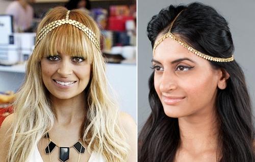 Celebrity wearing Indian headpiece