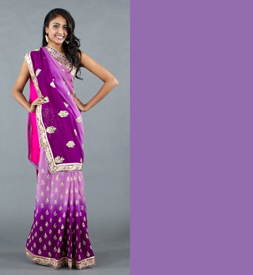 trendy purple pantone 2012 indian saree or salwar