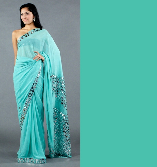 Turquoise shade pantone spring 2012 color trends saree indian design