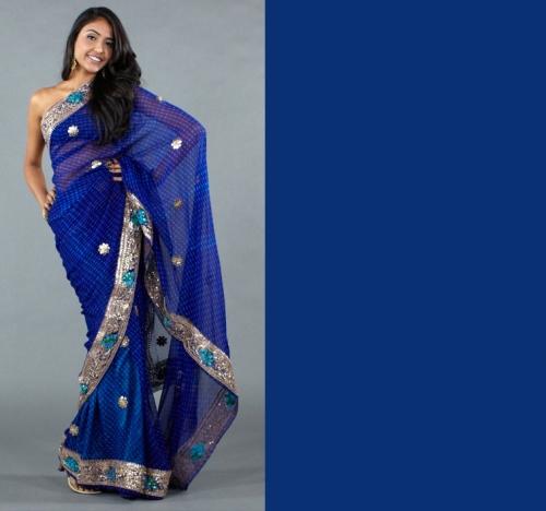 Spring 2012 trendiest colors blue saree to match