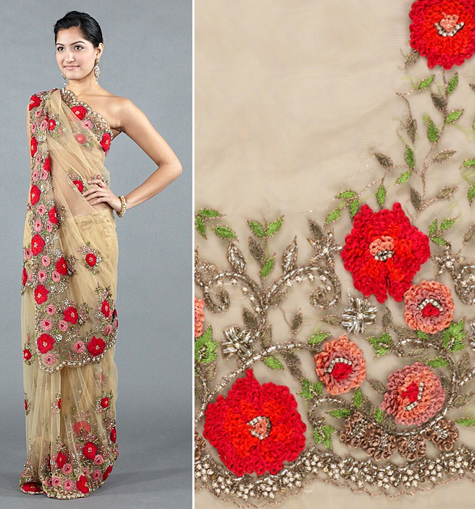 Designer saree spring 2012 floral trend runway inspired indian fashion