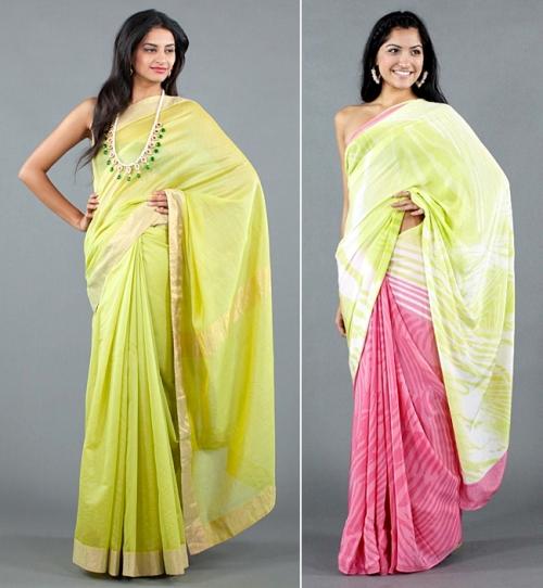 designer neon sarees neeru kumar