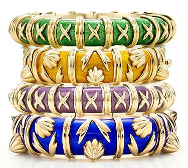 tiffany designer enamel bracelets