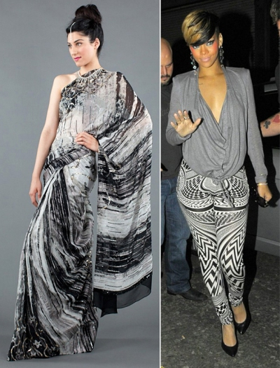 Rihanna style Indian influence tribal sarees