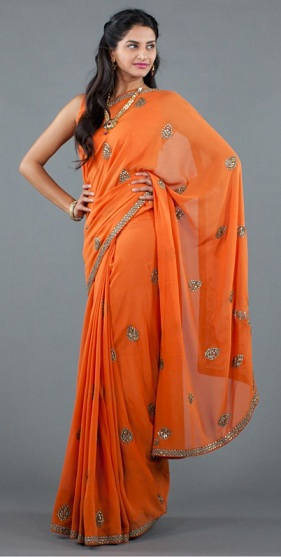 summer 2012 fashion trends indian style saree tangerine tango