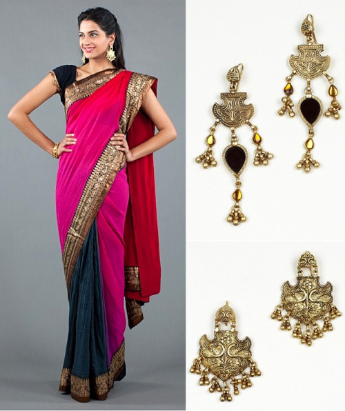 olympics inspired indian saree gladiator earrings