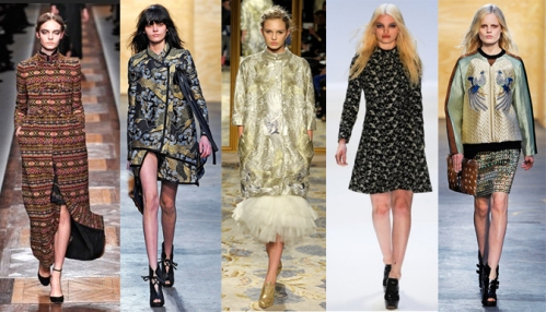 fall 2012 brocade embellished dress trend runway collections celebrity fashion