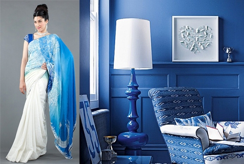 interior decorating design inspired by fall 2012 runway indian fashion blue and white color palate