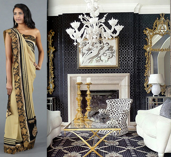 Interior decorating indian influenced the luxe report Black and gold living room decor
