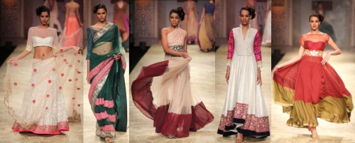 traditional indian ethnic saree sari salwar lengha runway trends winter fall 2012
