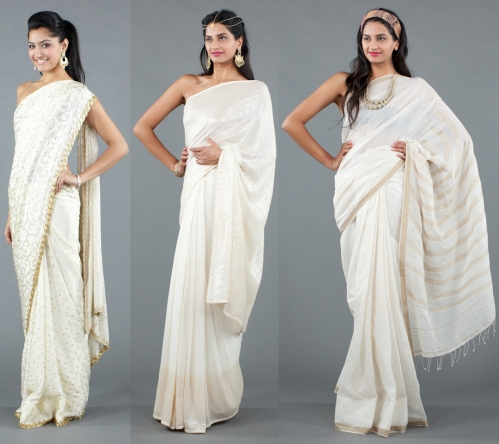 white sarees by luxemi