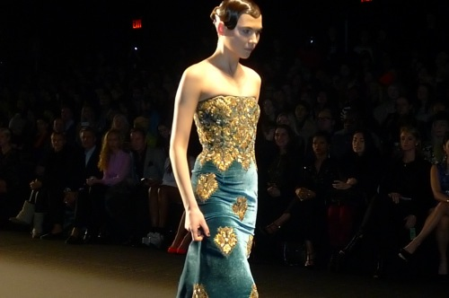 Naeem Khan NYFW 2013 blue saree dress