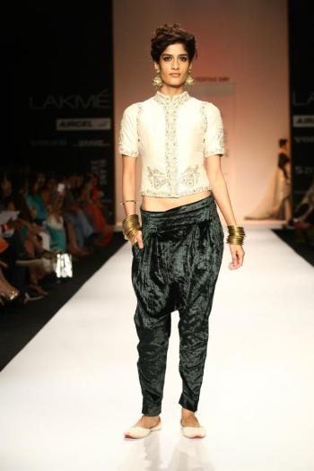 Payal Singhal's fresh take on umbrella pants is street chic and edgy with a nod to Indian sentiments.