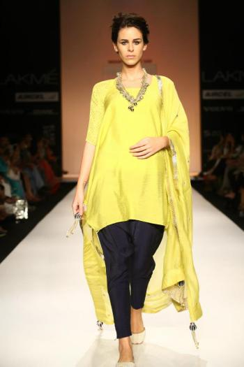 A yellow creation for Payal Singhal's most recent collection.