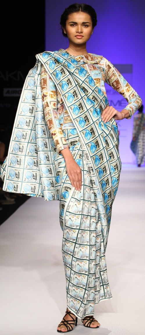 Sari with clashing print blouse by Aarti Vijay Gupta LFW SR '13