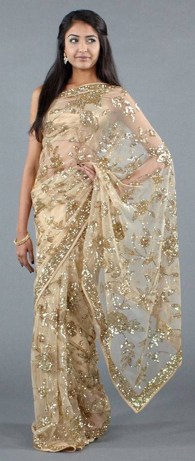 luxemi gold sequined sari