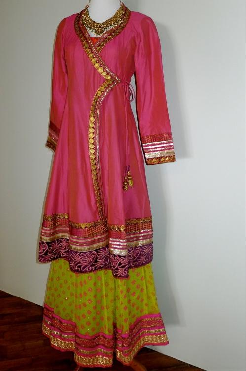 Laila Motwane neon lehenga worn with an angarakha
