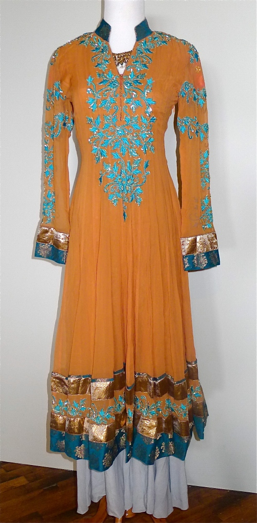 Tangerine anarkali worn with Kisneel sharara pants