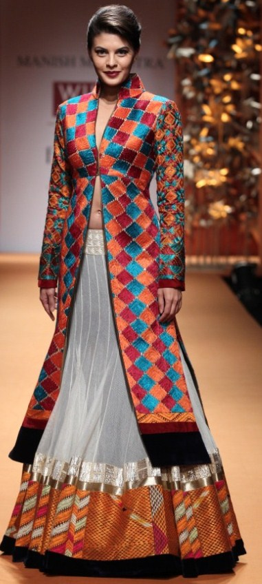 Manish Malhotra's lehenga with jacket outfit at WIFW AW'13