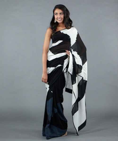 Monochrome sequined Satya Paul saree