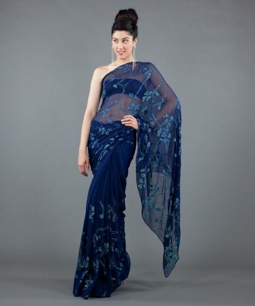Luxemi blue chiffon saree with aqua sequins