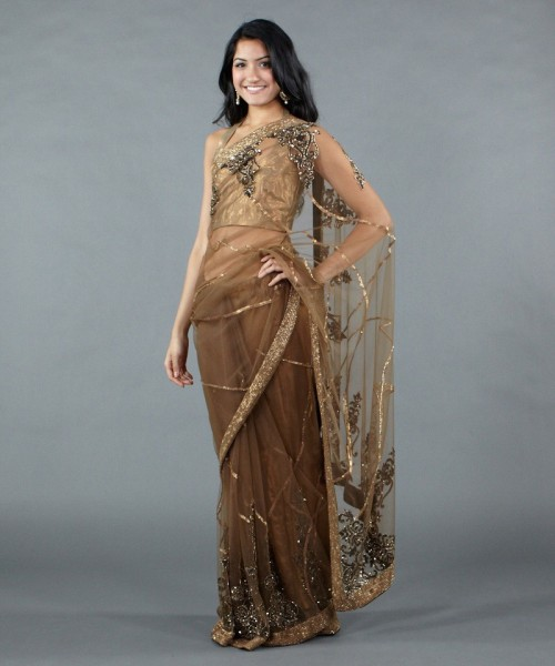 Luxemi copper net sari for Istanbul wedding