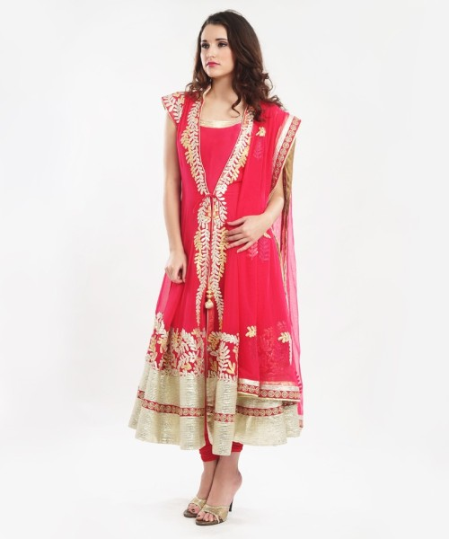 Gota work salwar in coral color