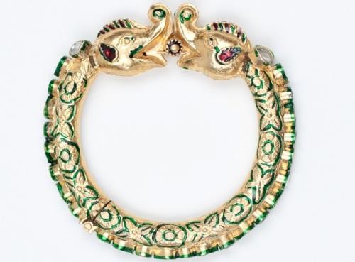 Traditional gold elephant bangle