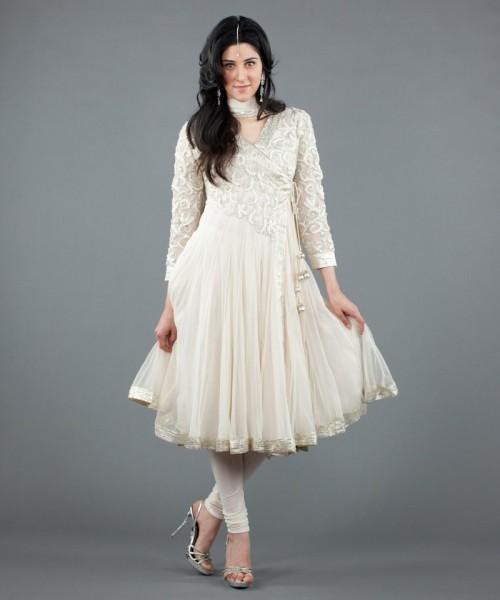 Luxemi's white and silver gota angrakha salwar