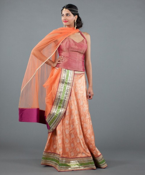 Brocade peach lehenga on Luxemi