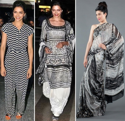 Deepika Padukone in monochrome outfits