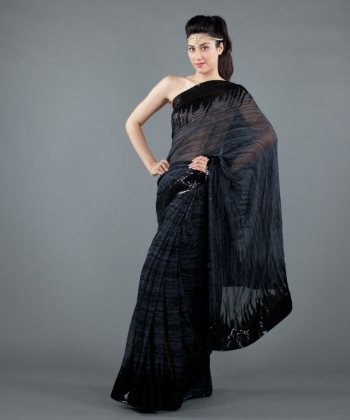 Sequined saree with border