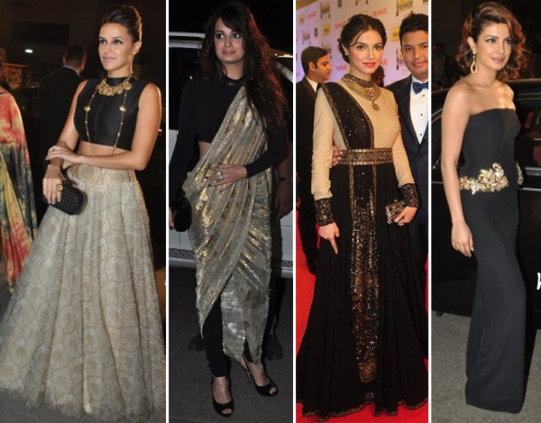 Black and gold indian outfits