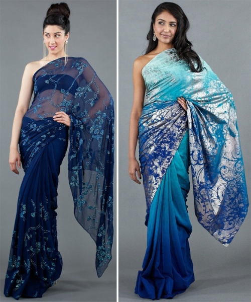 Blue sarees on Luxemi