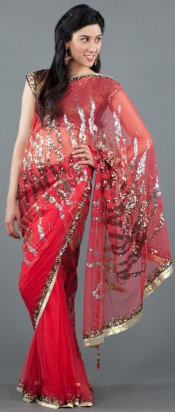 Metallic saree on Luxemi