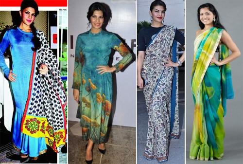acqueline Fernandez wears prints