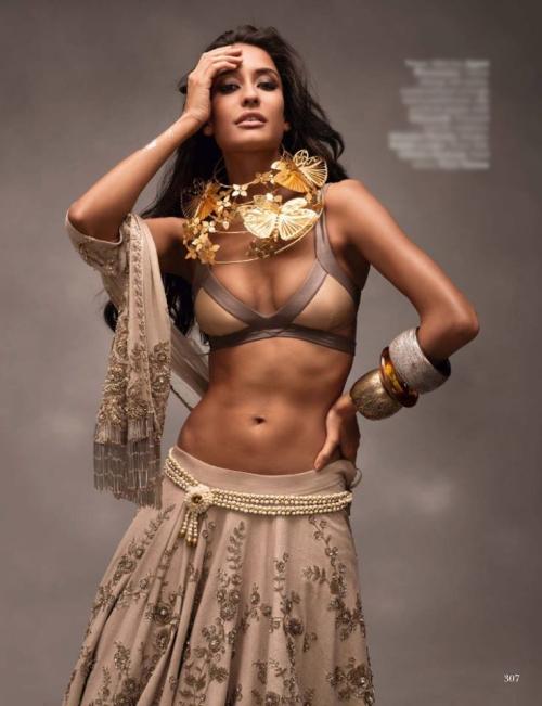 Lisa Haydon wearing a Mrinalini Chandra necklace for Vogue India